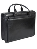 LEATHER COMPUTER BRIEF.  FRONT ZIP DOWN ORGANIZER.  TWO GUSSET SECTIONS W/FULL ZIP POCKET DIVIDER.  LAPTOP COMPARTMENT WITH THREE OPEN POCKETS.  REAR OPEN POCKET.  SHOULDER STRAP.  IMPORT.