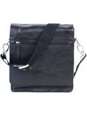 SMALL LEATHER MESSENGER BAG.  MAIL BAG STYLE MESSENGER BAG W/HORIZONTAL ZIP POCKET ON THE FLAP AND TWO MAGNETIC SNAPS.  TWO ZIP POCKETS UNDER FLAP FOR EASY ACCESS.  ROOMY INTERIOR WITH A ZIP POCKET AND FOUR OPEN POCKETS.  EXTERIOR REAR ZIP POCKET.  A
