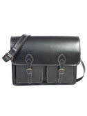 LEATHER FLAP-OVER COMPUTER BRIEF.  SINGLE GUSSET WITH PADDED COMPUTER COMPARTMENT.  TWO OPEN FRONT POCKETS UNDER FLAP.  ADJUSTABLE AND REMOVEABLE SHOULDER STRAP.  IMPORT.