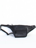LEATHER WAIST PACK.  3-WAY ZIP COMPARTMENT.  HORIZONTAL ZIP POCKET.  INSIDE CREDIT CARD POCKETS AND ID WINDOW.  ROOMY ZIP INTERIOR.  OUTSIDE ZIP BACK POCKET.  IMPORT.