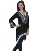 E101-BLK-EXTRA LARGE SIZE  LONG SLEEVE TUNIC WITH CONTRAST WHITE EMBROIDERY & FRINGED SHARK BITE.  HEM..