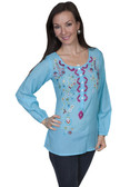 E103-TUR-EXTRA LARGE SIZE  LONG SLEEVE BUTTON FRONT PEASANT BLOUSE WITH EMBROIDERY..
