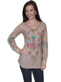 E105-MEDIUMOC-LARGE SIZE  LONG SLEEVE TUNIC WITH TIE FRONT..  PEEK A BOO BACK..  BRIGHT FLORAL AND TRIBAL EMBROIDERY ON FRONT BACK AND SLEEVES..