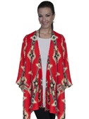 E111-RED-MEDIUM SIZE  CASUAL AZTEC PRINT DUSTER.
