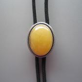 Natural Topaz Jade Oval Bolo Tie, Original Vintage Silver Plated