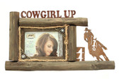 4 x 6 'Cowgirl UP' Wood Brown Picture Frame