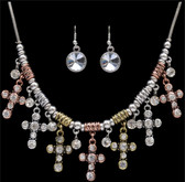 Silver Strike 3 Tone Cross Earring & Necklace Set