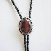 Vintage Silver Plated Nature Red Tiger Eye Stone Bolo Tie