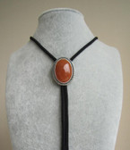 Original Nature Red Aventurine Stone Wedding Oval Bolo Tie Necklace