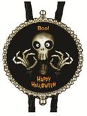 Happy Halloween Scary Skeleton Ghost Bolo Tie