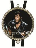 Elvis in Black Leather Bolo Tie