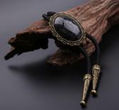 American Indian Cowboy Black Onyx Pendant Bolo Tie
