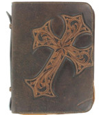 M&F Western Bible Cover Case Cross Marble Brown