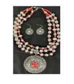 M&F Western Jewelry Womens Necklace Earrings Horse Coral Silver