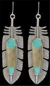 LoulaBelle Turquoise and Mother of Pearl Feather Earrings