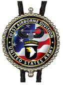 101st  Airborne with American Flag Bolo Tie