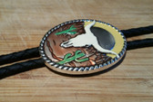 Oval Silver Painted Steer Head in the Desert Bolo Tie