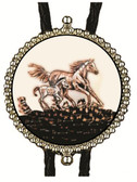 Copper Color Image of a Horse and Colt Bolo Tie