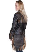 Black Leather and Tooled Flap Handbag
