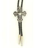 Western Men's Cross And Steer Skull Bolo Tie
