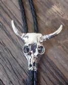 Silver Steer Head Skull Bolo Tie