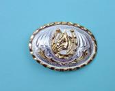 "Small Horsehead in Horseshoe German Silver Buckle, 2-3/4"" x 2"""