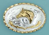 "Small Horsehead German Silver Buckle, 2-3/4"" x 2"" 8065"
