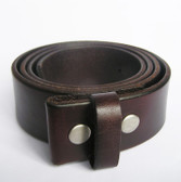 "SOLID GENUINE LEATHER BELT WITH SNAPS 1 1/2"" COFFEE 51864"