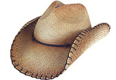 TEA STAINED PINCHED FRONT RAFFIA, WITH BROWN CORD Cowboy Hat BAND, WIRED & STITCHED EDGE.
