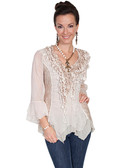 Ladies Natural Lace and Ruffle Blouse