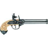 Triple-Barrel Flintlock Pistol - Pewter