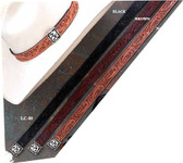 """TOOLED LEATHER 1"""" HATBAND 3 Colors Concho Buckle."""