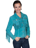 Turquoise  Ladies All Suede Jacket