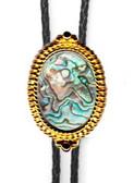 Abalone Shell Srcoll Design Bolo Tie( Gold Or Silver finish)