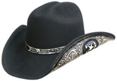 BLACK WOOL Cowboy Hat WITH LEATHER Cowboy Hat BAND AND LEATHER ON THE SIDE OF THE BRIM WITH HORSHOE INPRINTED.( AVAILABLE MARCH 1st)
