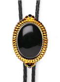 BLACK ONYX BEADED EDGE BOLO TIE (GOLD OR SILVER FINISH)