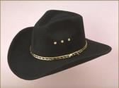 BLACK Pinch Front Faux Felt Cowboy Hat
