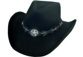 BLACK WOOL FELT Cowboy Hat WITH CONCHO STAR Cowboy Hat BAND AND CHIN CORD.