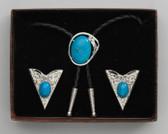 Bolo Tie & Collar Tip Boxed Set - Blue Stone