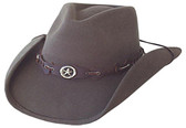 BROWN WOOL FELT WITH CONCHO STAR.