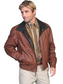 BROWN Featherlite leather jacket with double collar. BY SCULLY