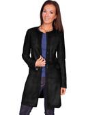 Laser Cut Delicate Black Leather Coat