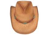 COUNTRY PINCHED FRONT WITH MULTICOLORED BEADED Cowboy Hat BAND WITH ELASTIC.