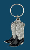 Cowboy Boots Key Ring, Black Enamel