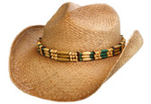 COUNTRY PINCHED FRONT WITH WIDE BEADED Cowboy Hat BAND AND ELASTIC.