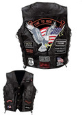 Diamond Plate™ Rock Design Genuine Buffalo Leather Vest UP TO 5XL