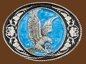 "Eagle Buckle, Black & Blue enamel, 3-1/4"" x 2-1/2"""