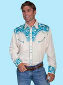 Embroidered Mens Western Shirts CREAM