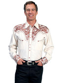 Embroidered Mens Western Shirts NATURAL
