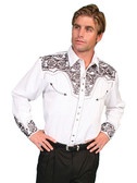 Embroidered Mens Western Shirts PEWTER